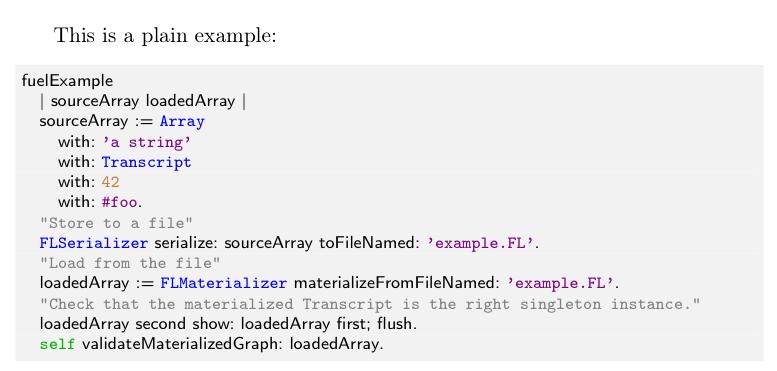 Smalltalk syntax highlighting for Latex | Mariano Martinez Peck